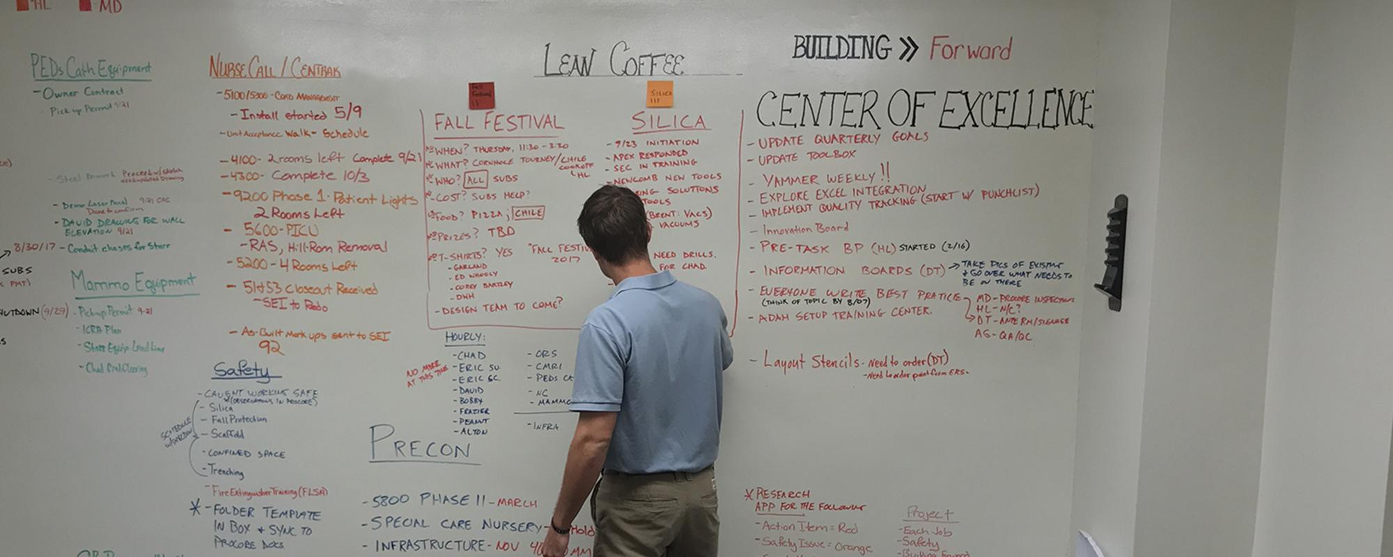 Robins & Morton employee leading team Lean Coffee